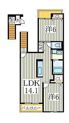 モン・トレゾール[2階]の間取り