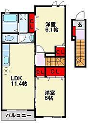 ブランミュール水巻 C棟[2階]の間取り