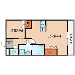 近鉄大阪線 榛原駅 徒歩20分の賃貸マンション 2階1LDKの間取り