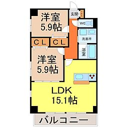 愛知県名古屋市中区大須1丁目の賃貸マンションの間取り