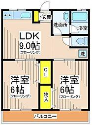 エクセレントK2[2階]の間取り