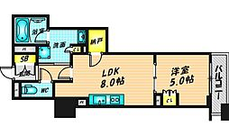 ローレルタワー心斎橋 4階1LDKの間取り