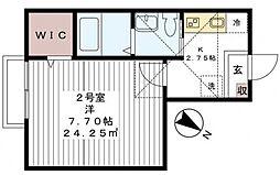 千葉県松戸市小金清志町1丁目の賃貸アパートの間取り