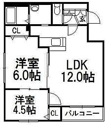 北海道札幌市豊平区平岸二条7丁目の賃貸マンションの間取り