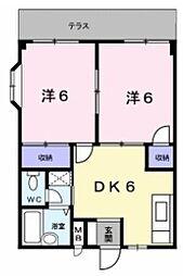 大阪府八尾市東弓削1丁目の賃貸アパートの間取り