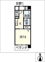 丸喜屋 7階1Kの間取り