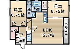 シェール中桜塚[303号室]の間取り