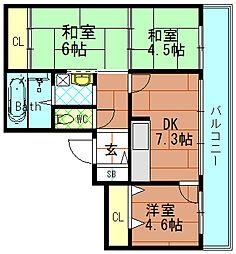 ハイツ江戸堀[4階]の間取り