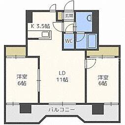 北海道札幌市中央区北四条西17丁目の賃貸マンションの間取り