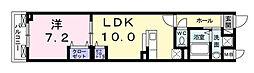 カーサ小紅屋 2階1LDKの間取り