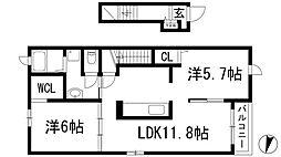 兵庫県川西市新田3丁目の賃貸アパートの間取り