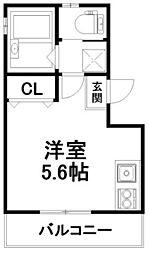 LOFTY伏見稲荷駅前 3階ワンルームの間取り