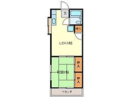 近鉄志摩線 中之郷駅 徒歩5分の賃貸アパート 2階1LDKの間取り