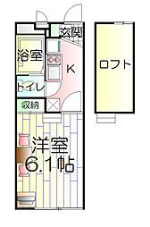 東京都足立区舎人4丁目の賃貸アパートの間取り