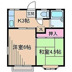 神奈川県横浜市鶴見区北寺尾6丁目の賃貸アパートの間取り