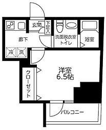 ルフレプレミアム川崎 12階1Kの間取り