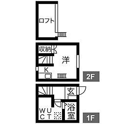 プランベイム道徳(西棟) 2階1SKの間取り