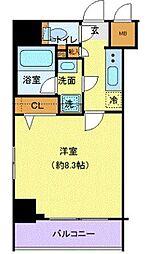 京王線 府中駅 徒歩6分の賃貸マンション 2階1Kの間取り