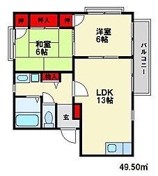 エクレール紫台[2階]の間取り