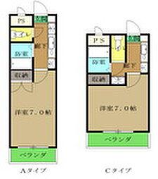 埼玉県東松山市元宿1丁目の賃貸アパートの間取り