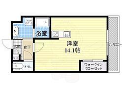 Garden Side Ouji 1階ワンルームの間取り
