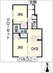 愛知県名古屋市中村区森田町2丁目の賃貸アパートの間取り