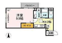 JR中央線 国立駅 徒歩15分の賃貸アパート 1階1Kの間取り
