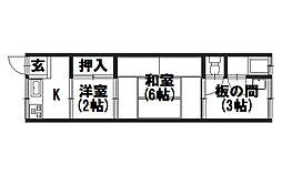 第1竹園荘[205号室]の間取り