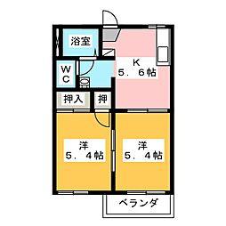 八反田ハイツA[2階]の間取り