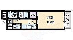 南海高野線 萩原天神駅 徒歩9分の賃貸アパート 1階1Kの間取り