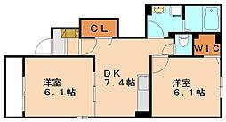 サンヒルズ★ミヤアヴァンセB[1階]の間取り