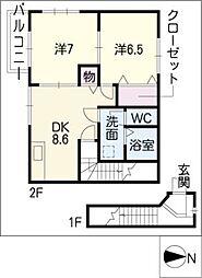 アルモニースクウェアB棟[2階]の間取り