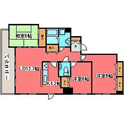 リーベンデール福住[9階]の間取り