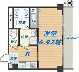プリエール高井田 3階1Kの間取り