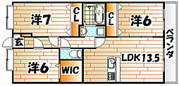 プリンシープル[3階]の間取り