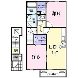 JR高徳線 池谷駅 徒歩7分の賃貸アパート 2階2LDKの間取り