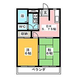 シャンポールF[1階]の間取り