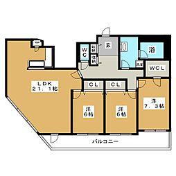 北海道札幌市白石区北郷二条7丁目の賃貸マンションの間取り