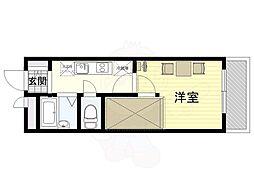 大阪モノレール彩都線 豊川駅 徒歩8分の賃貸マンション 2階1Kの間取り