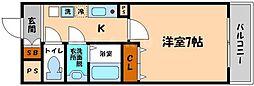 都マンション赤川 7階1Kの間取り