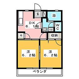 ディアコート大崎 B棟[2階]の間取り