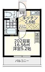 神奈川県横浜市西区藤棚町2の賃貸アパートの間取り