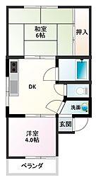 大阪府茨木市東奈良1丁目の賃貸アパートの間取り