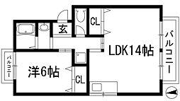 大阪府箕面市如意谷2丁目の賃貸アパートの間取り