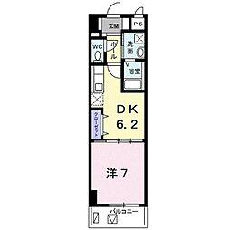 バス 我如古下車 徒歩5分の賃貸アパート 6階1DKの間取り