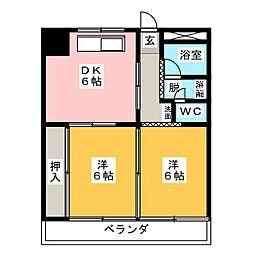 サワータウン青山[3階]の間取り