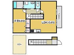 兵庫県姫路市野里寺町の賃貸アパートの間取り