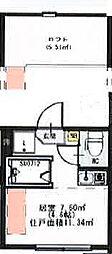 (仮称)千住東1丁目B Neo AVAND 1階ワンルームの間取り