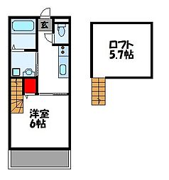 JR鹿児島本線 古賀駅 徒歩10分の賃貸アパート 2階1Kの間取り