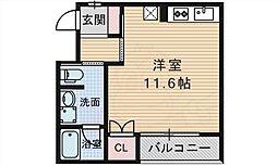 大阪モノレール彩都線 公園東口駅 徒歩15分の賃貸マンション 4階ワンルームの間取り